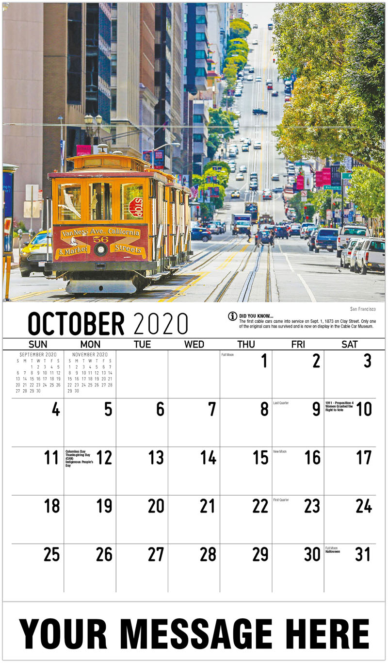 2020 Business Advertising Calendar - San Francisco - October
