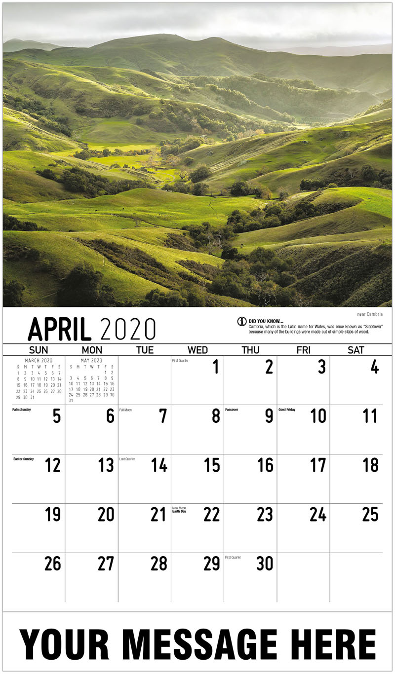 2020 Promo Calendar - Near Cambria - April