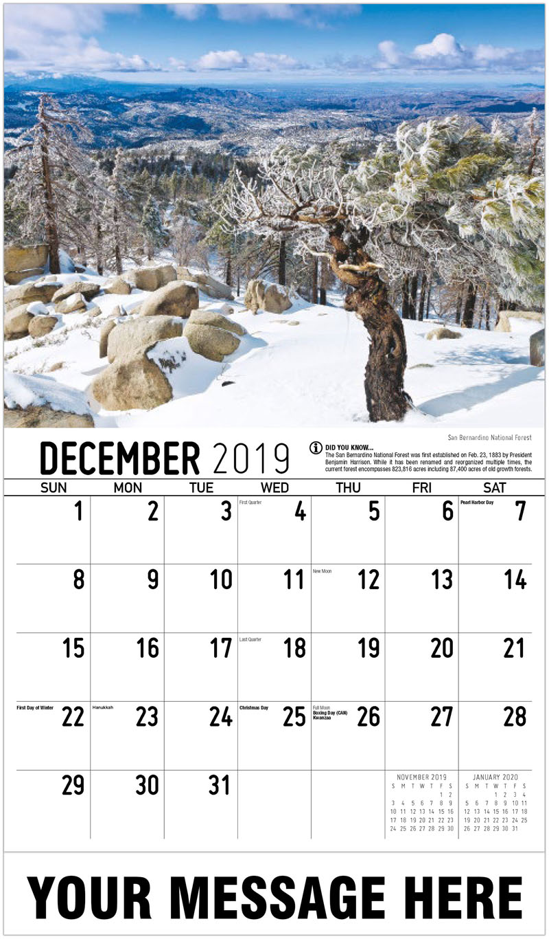 2020 Promotional Calendar - San Bernardino National Forest - December_2019