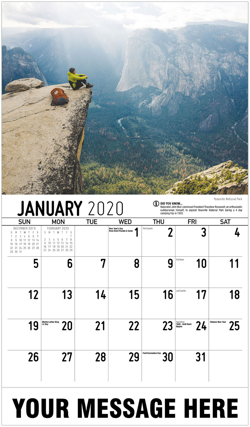 2020 Promotional Calendar - Yosemite National Park - January