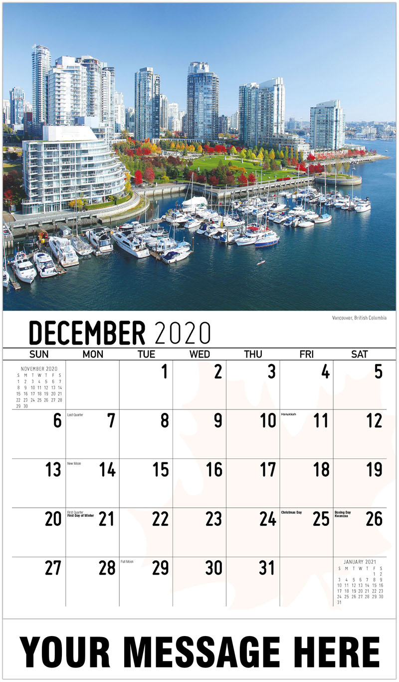 2020 Advertising Calendar - Vancouver, British Columbia Vancouver, Colombie-Britannique - December_2020