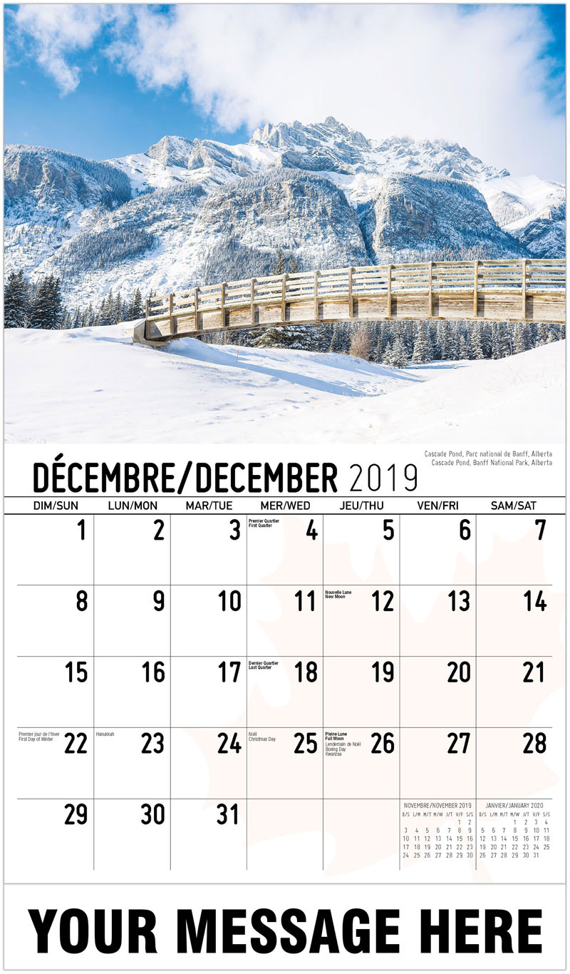 2020 French-English Advertising Calendar - Cascade Pond, Banff National Park, Alberta Cascade Pond, Parc National De Banff, Alberta - December_2019
