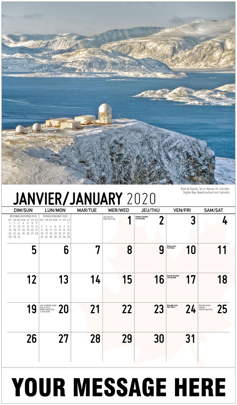 2020 French-English Advertising Calendar - Saglek Bay, Newfoundland And Labrador Baie De Saglek, Terre-Neuve-Et-Labrador - January