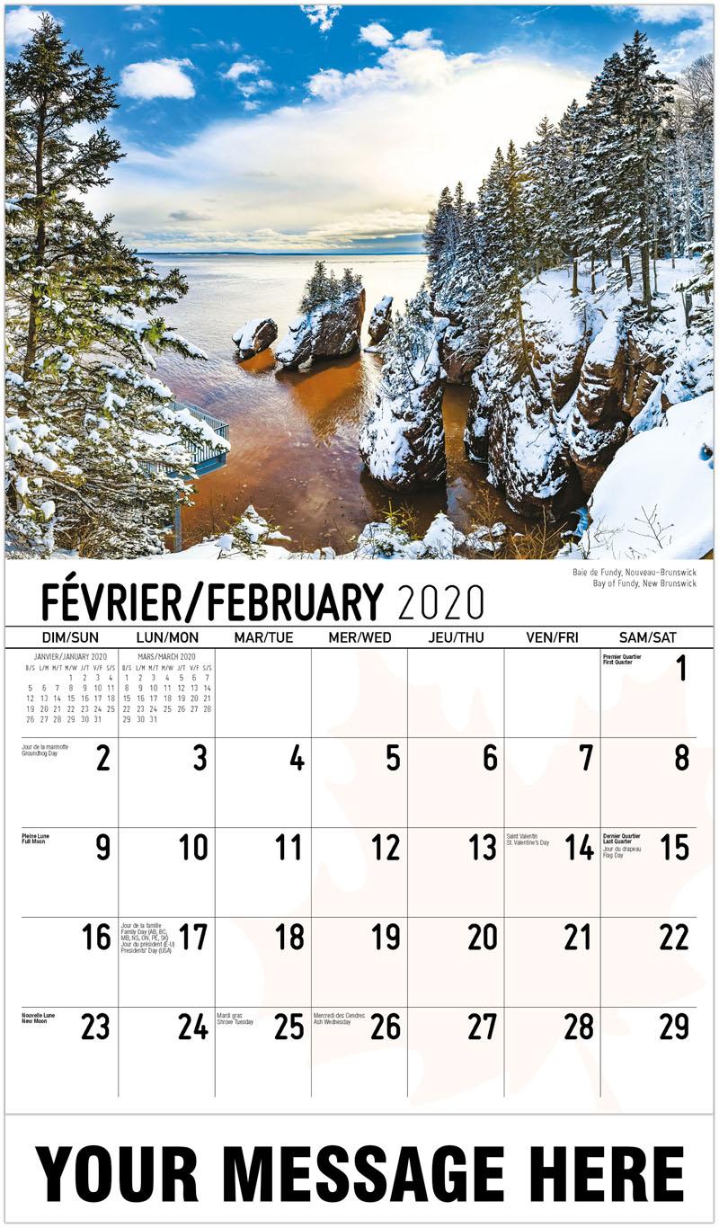 2020 French-English Advertising Calendar - Bay Of Fundy, New Brunswick Baie De Fundy, Nouveau-Brunswick - February