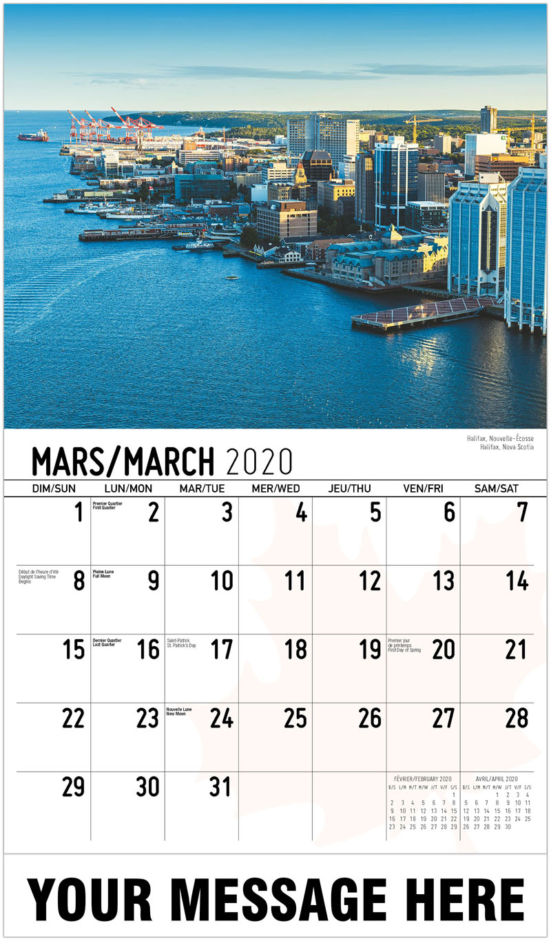 2020 French-English Advertising Calendar - Halifax, Nova Scotia Halifax, Nouvelle-Écosse - March