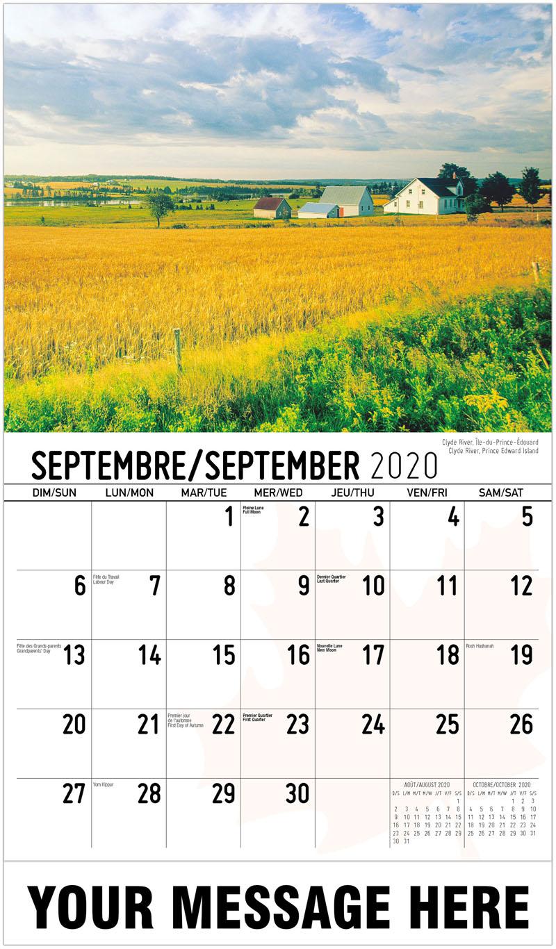 2020 French-English Promo Calendar - Clyde River, Prince Edward Island Clyde River, Île-Du-Prince-Édouard - September
