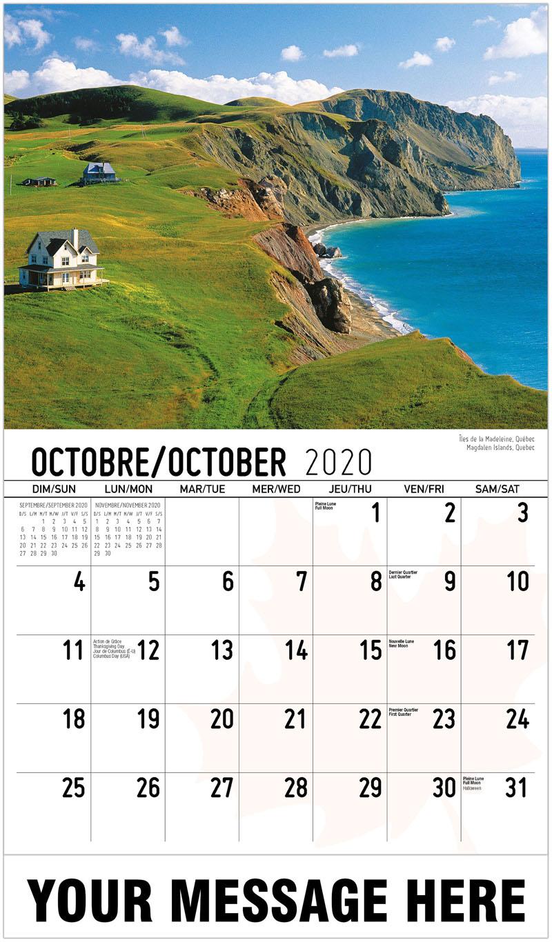 2020 French-English Promo Calendar - Magdalen Islands, Quebec Îles De La Madeleine, Québec - October