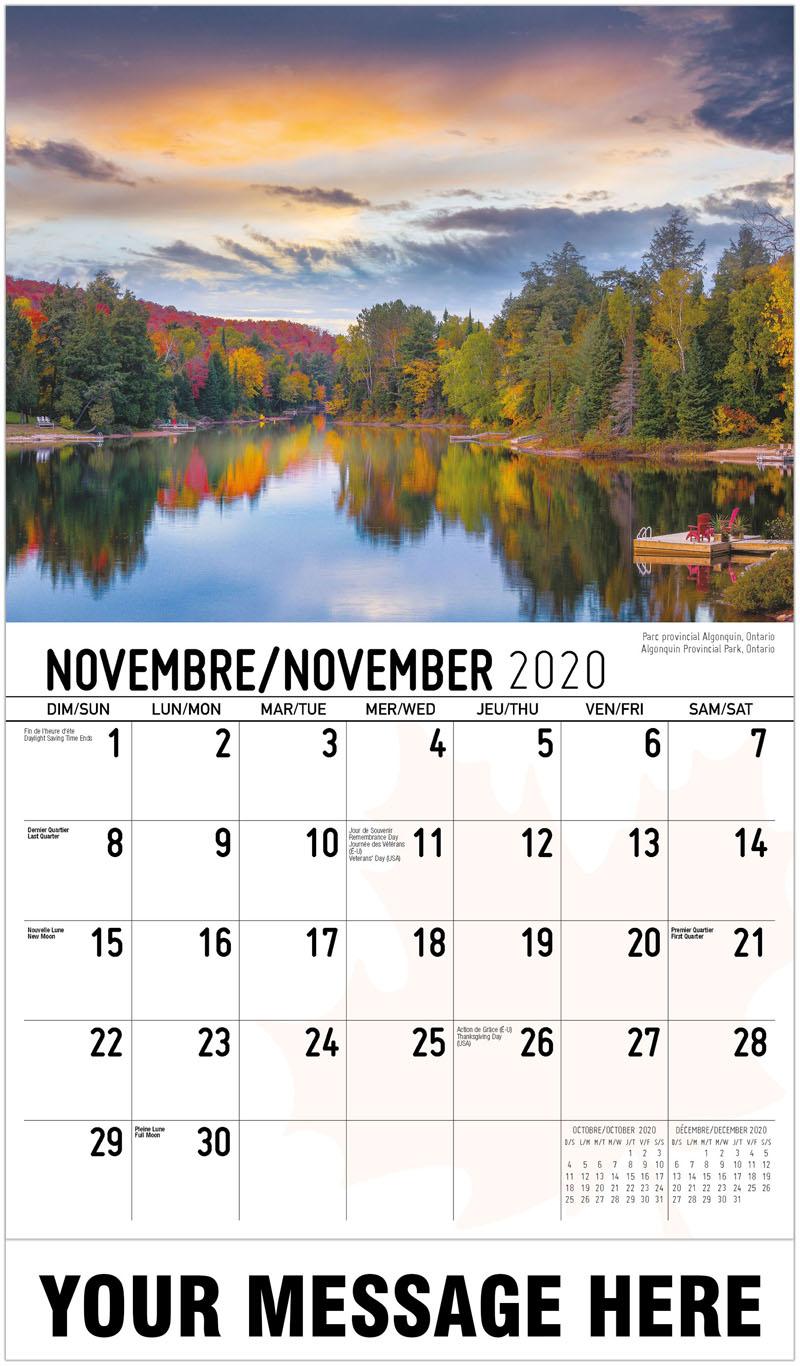 2020 French-English Promo Calendar - Algonquin Provincial Park, Ontario Parc Provincial Algonquin, Ontario - November