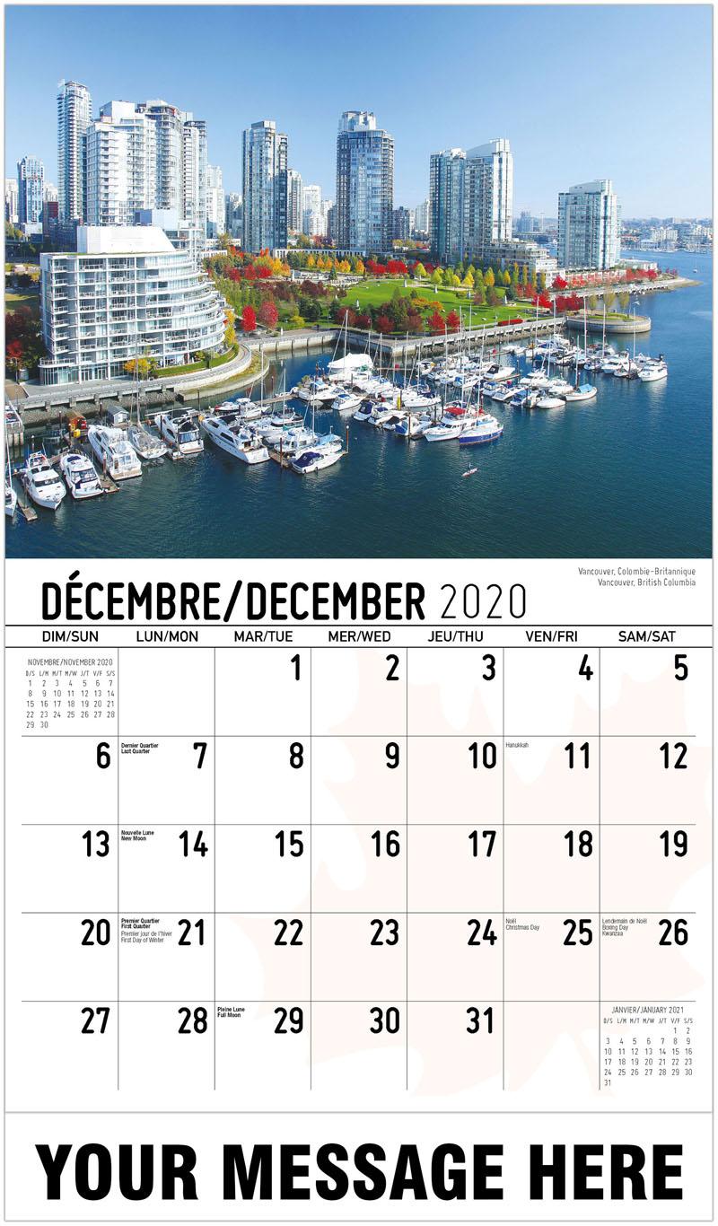 2020 French-English Promo Calendar - Vancouver, British Columbia Vancouver, Colombie-Britannique - December_2020
