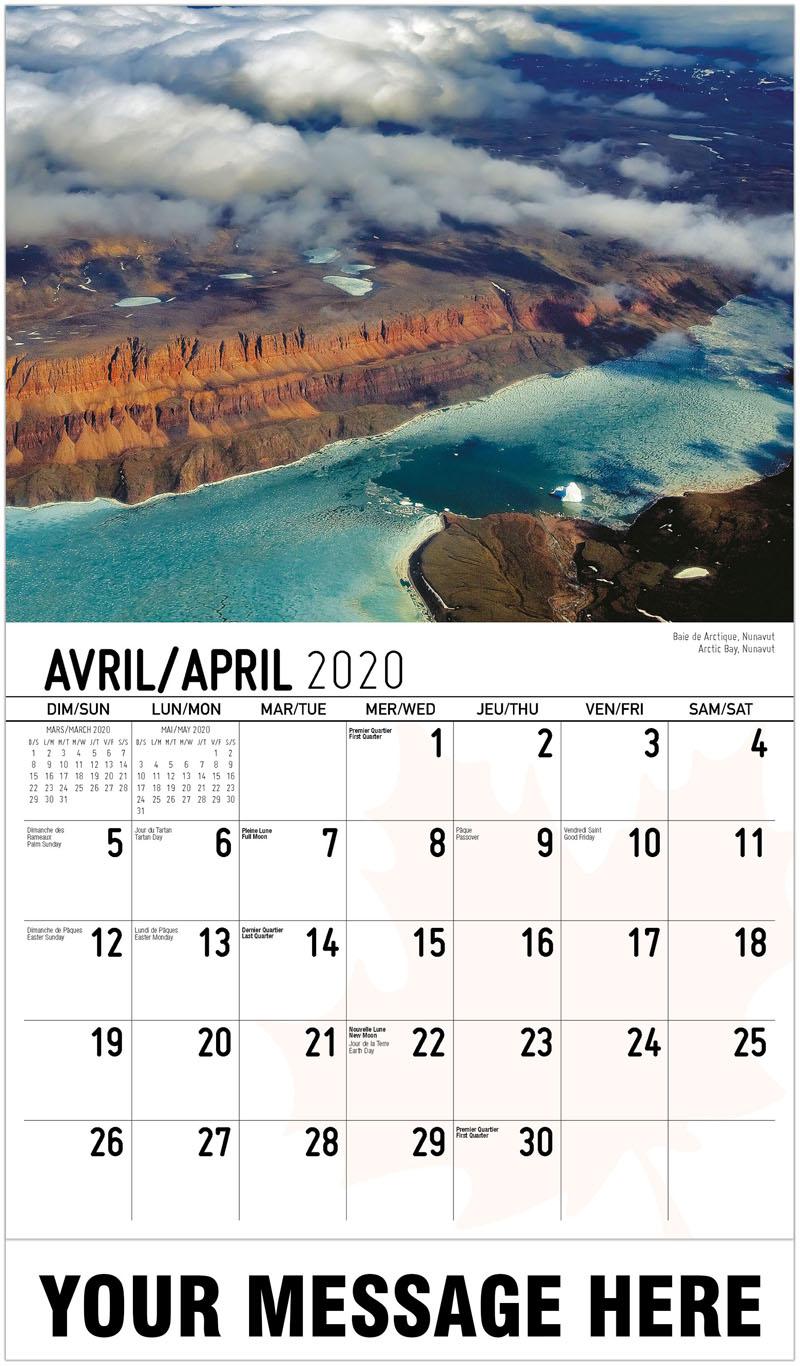 2020 French-English Promotional Calendar - Arctic Bay, Nunavut Baie De Arctique, Nunavut - April