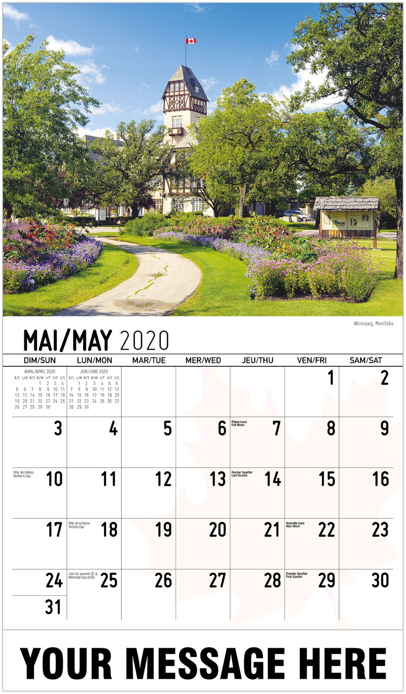 2020 French-English Promotional Calendar - Winnipeg, Manitoba - May