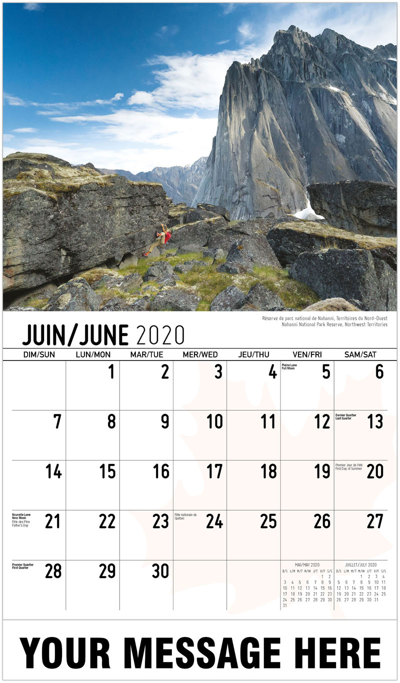 2020 French-English Promotional Calendar - Nahanni National Park Reserve, Northwest Territories Réserve De Parc National De Nahanni, Territoires Du Nord-Ouest - June