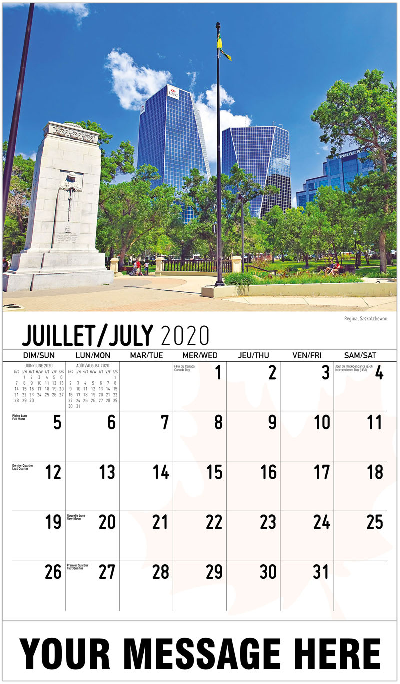 2020 French-English Promotional Calendar - Regina, Saskatchewan - July