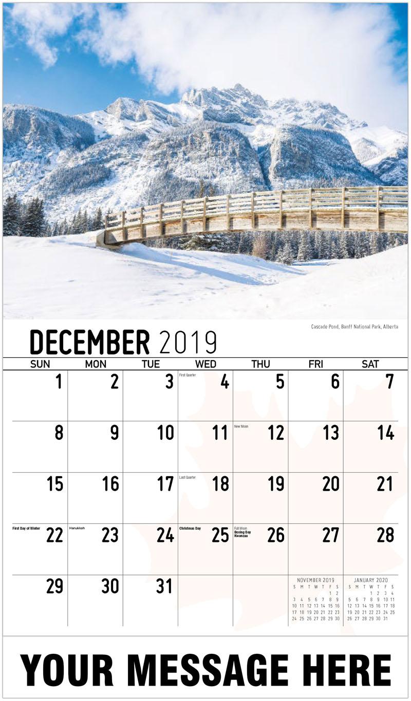 2020 Business Advertising Calendar - Cascade Pond, Banff National Park, Alberta Cascade Pond, Parc National De Banff, Alberta - December_2019
