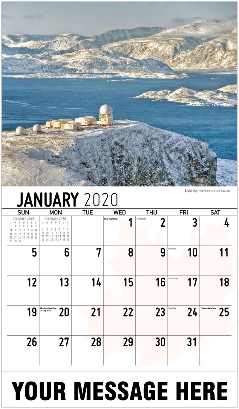 2020 Business Advertising Calendar - Saglek Bay, Newfoundland And Labrador Baie De Saglek, Terre-Neuve-Et-Labrador - January