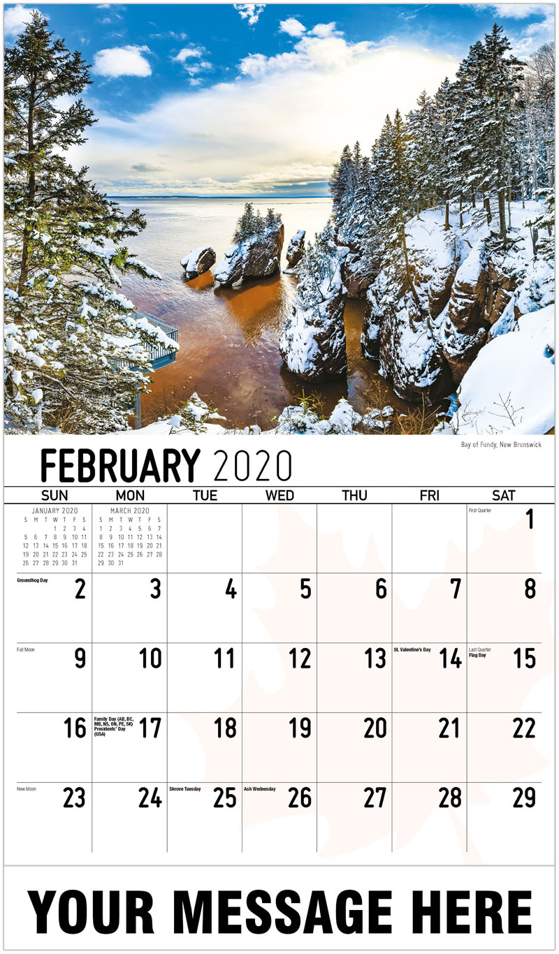 2020 Business Advertising Calendar - Bay Of Fundy, New Brunswick Baie De Fundy, Nouveau-Brunswick - February