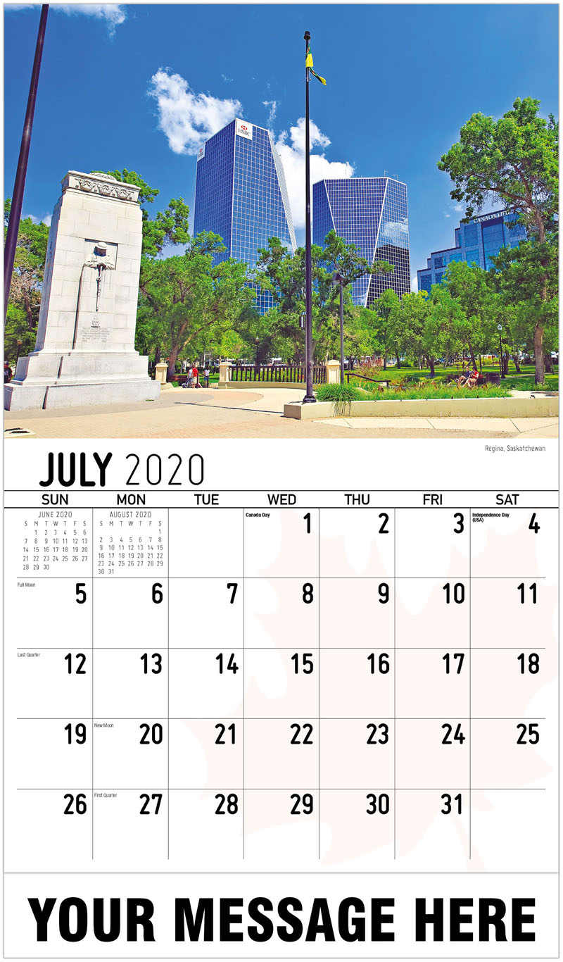 2020 Promo Calendar - Regina, Saskatchewan - July