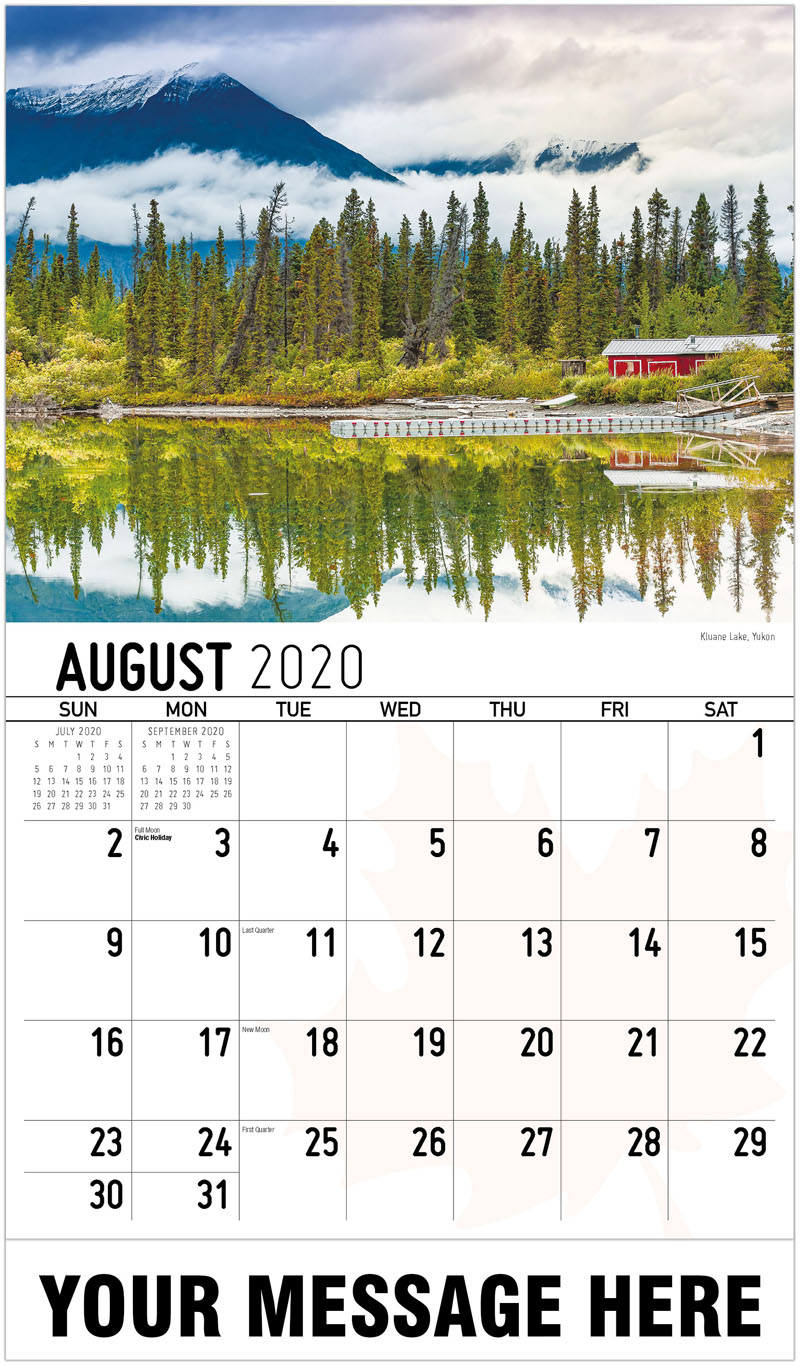 2020 Promo Calendar - Kluane Lake, Yukon Lac Kluane, Yukon - August