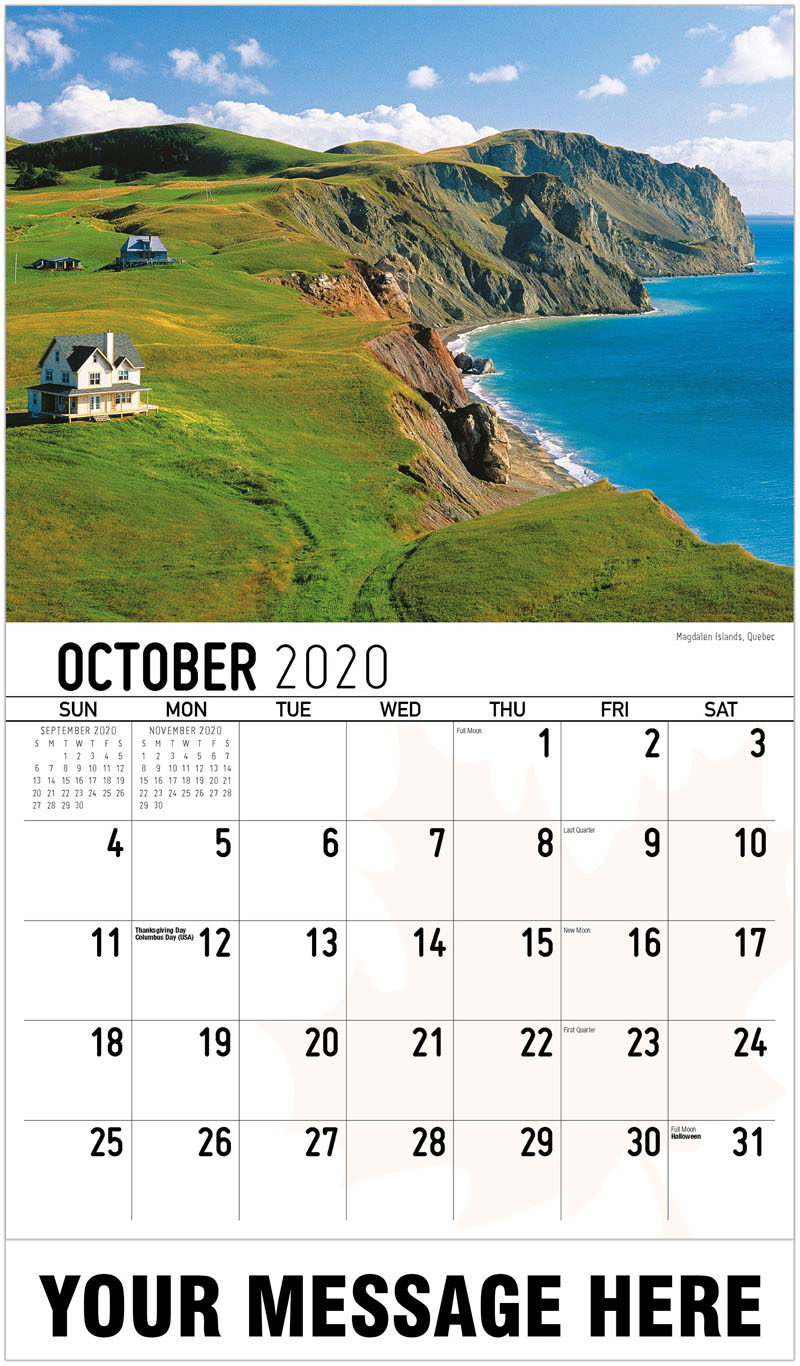 2020 Promo Calendar - Magdalen Islands, Quebec Îles De La Madeleine, Québec - October