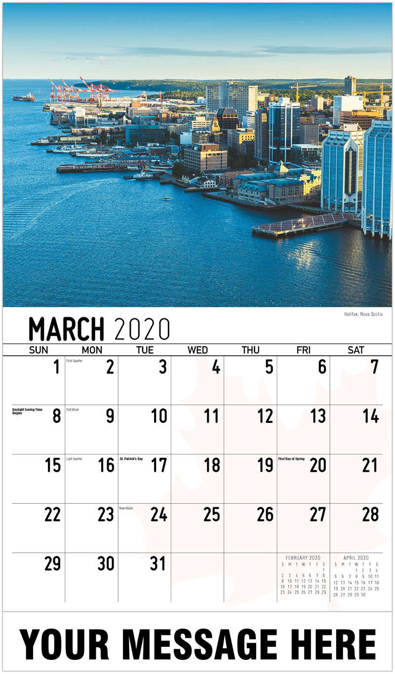 2020 Promotional Calendar - Halifax, Nova Scotia Halifax, Nouvelle-Écosse - March