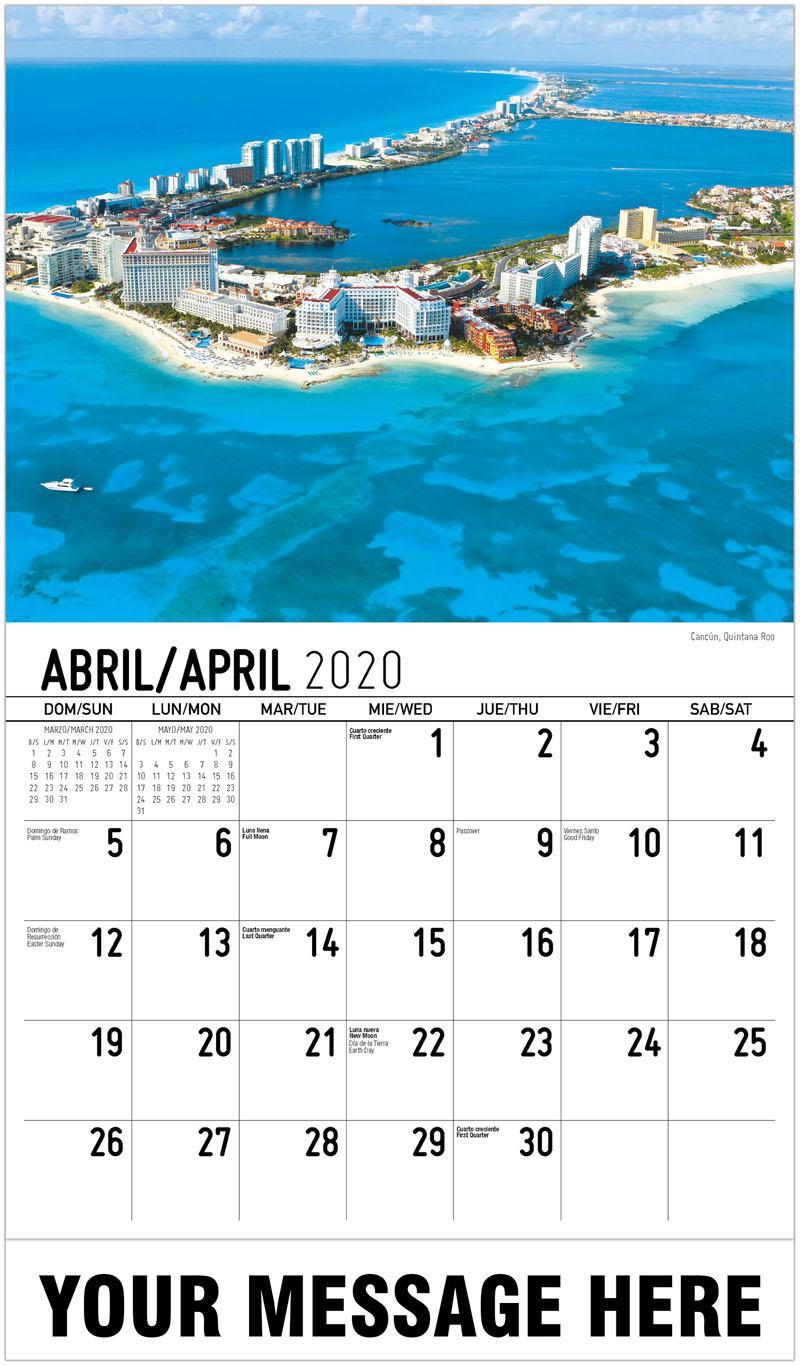 2020  Spanish-English Advertising Calendar - Cancún, Quintana Roo - April