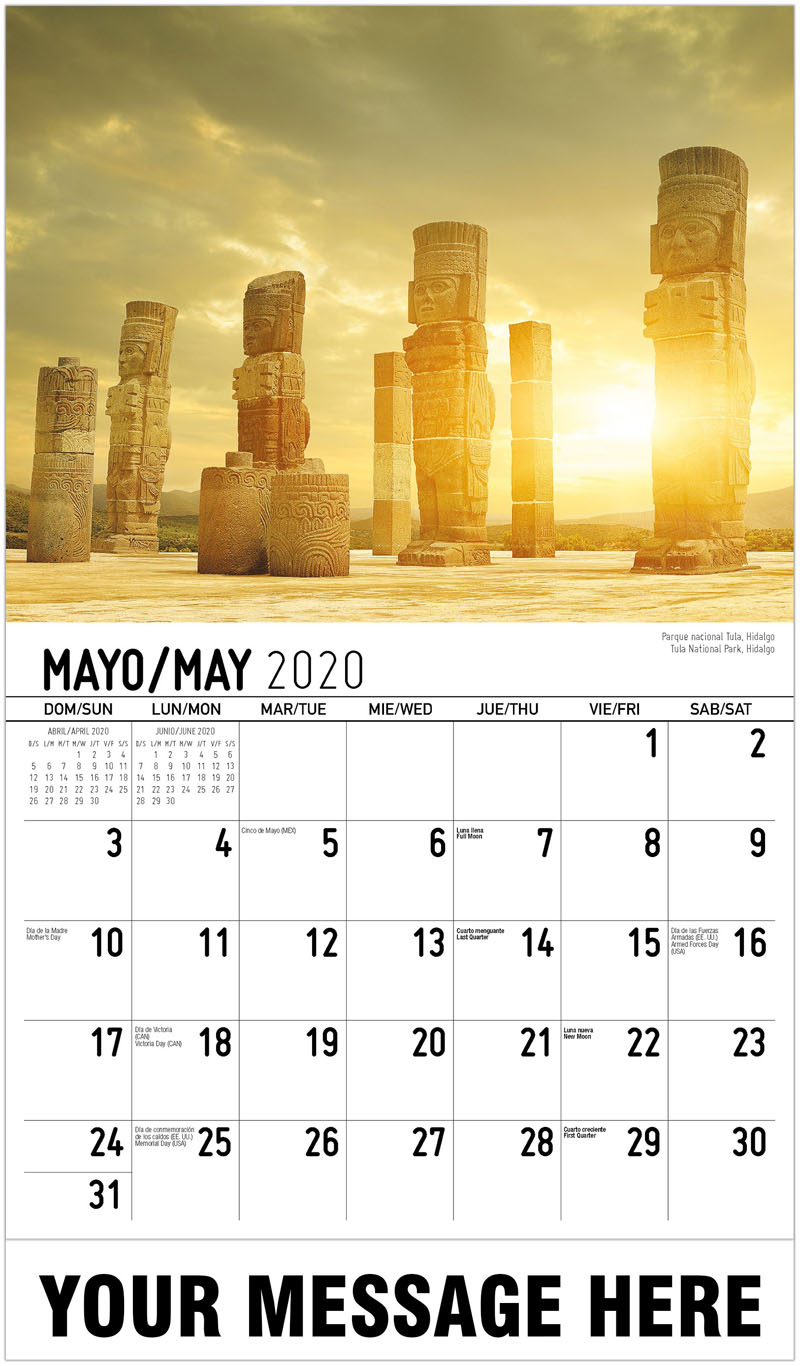 2020  Spanish-English Advertising Calendar - Tula National Park, Hidalgo Parque Nacional Tula, Hidalgo - May