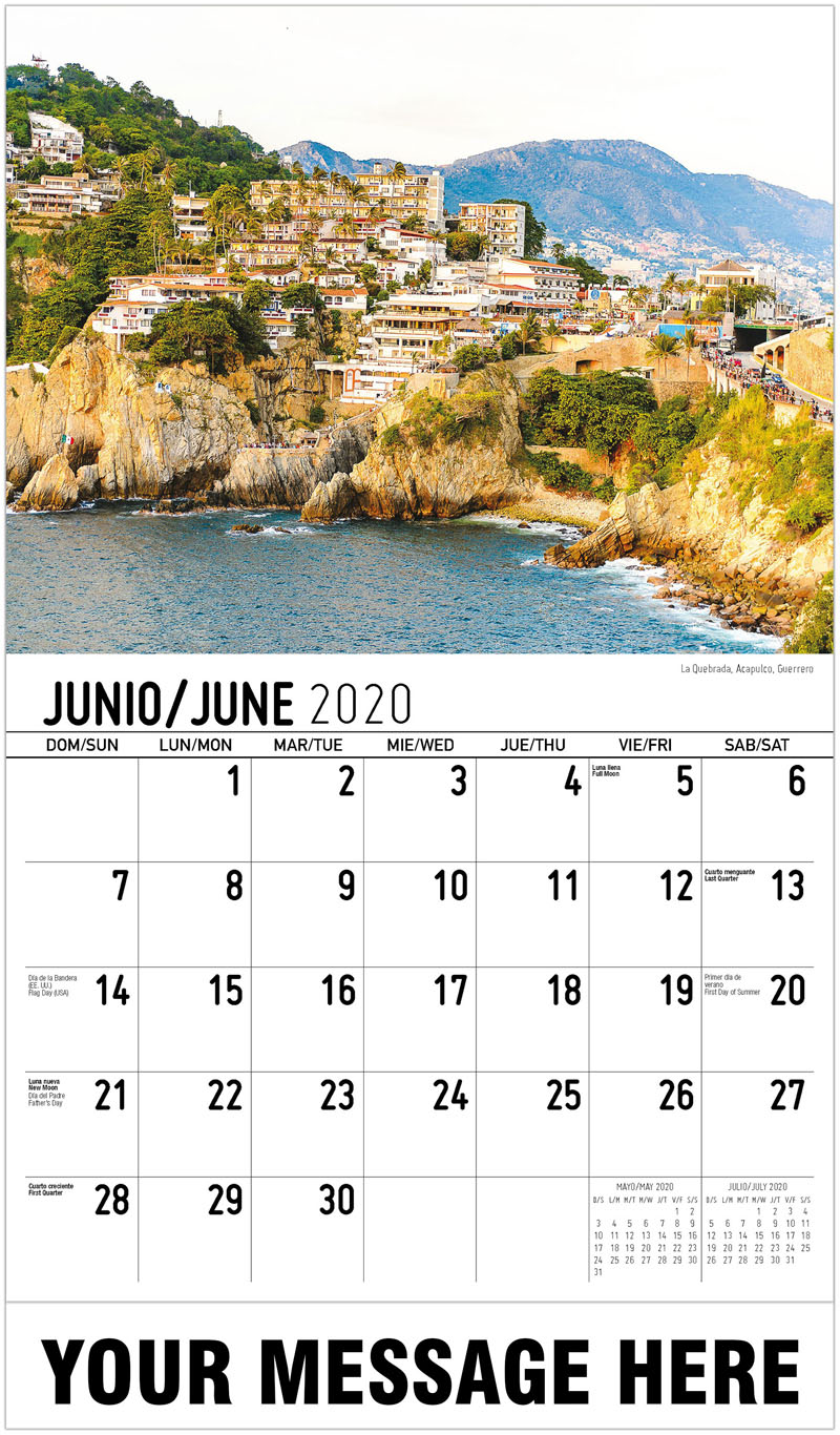2020  Spanish-English Advertising Calendar - La Quebrada, Acapulco, Guerrero - June