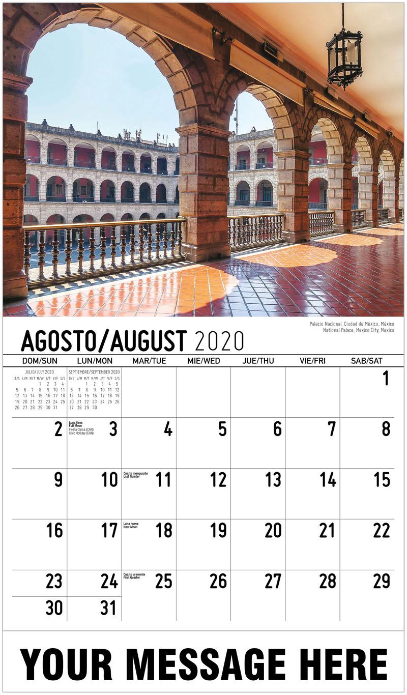 2020  Spanish-English Promo Calendar - National Palace, Mexico City, Mexico Palacio Nacional, Ciudad De México, México - August