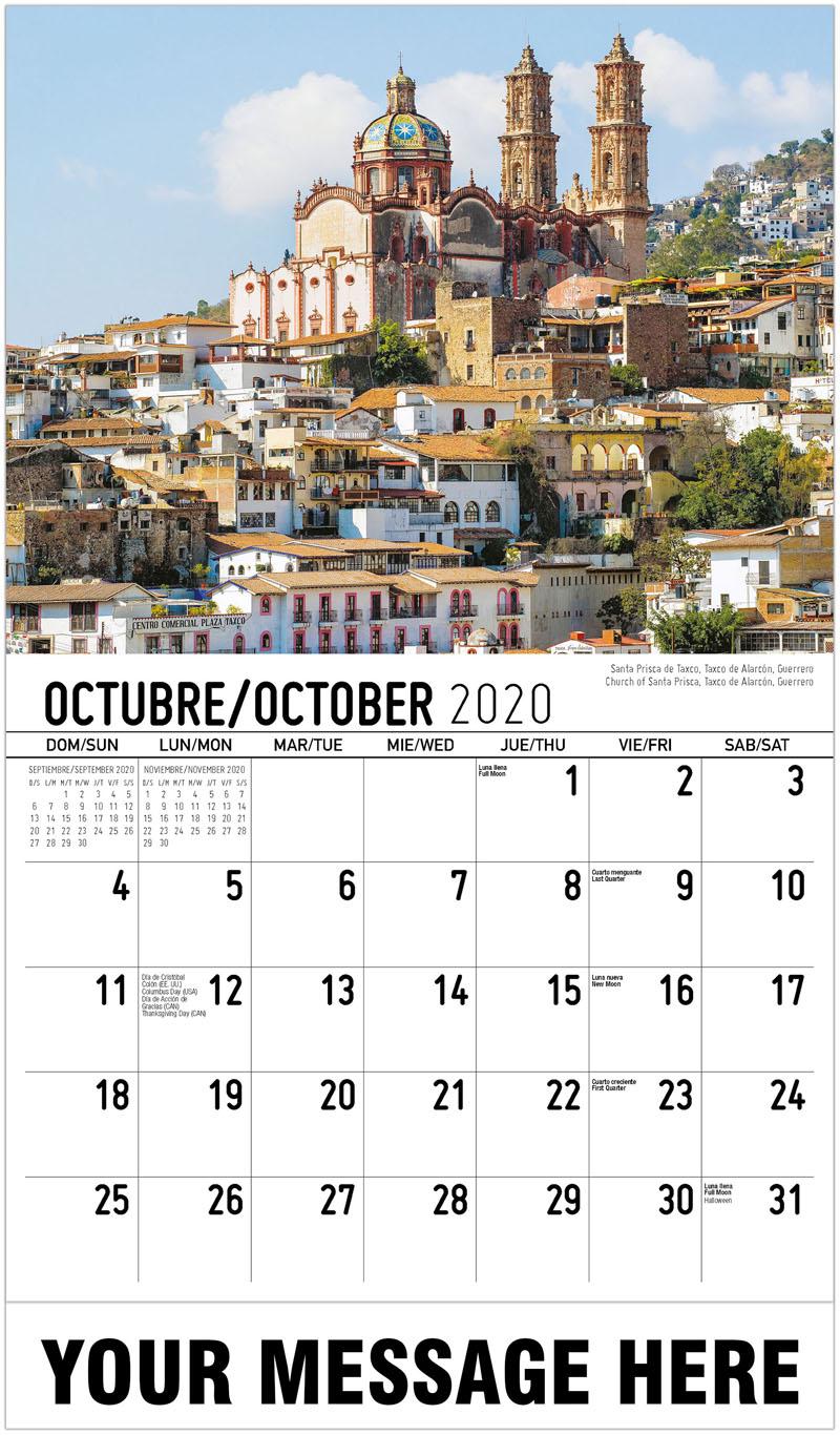 2020  Spanish-English Promo Calendar - Church Of Santa Prisca, Taxco De Alarcón, Guerrero Santa Prisca De Taxco, Taxco De Alarcón, Guerrero - October