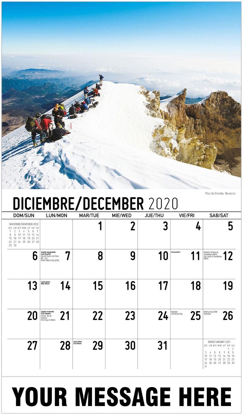 2020  Spanish-English Promo Calendar - Pico De Orizaba, Veracruz - December_2020