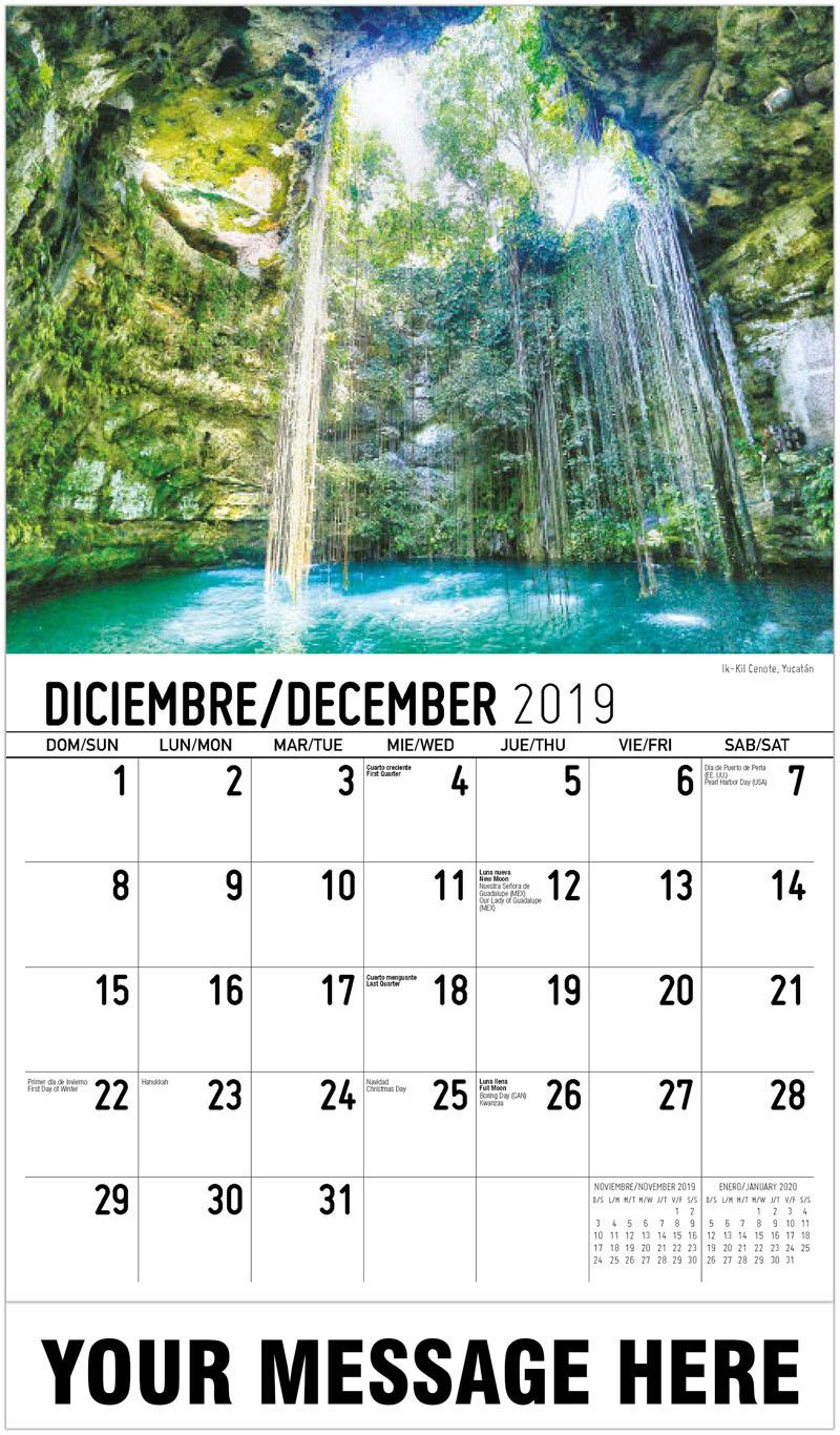 2020  Spanish-English Promotional Calendar - Ik-Kil Cenote, Yucatán - December_2019