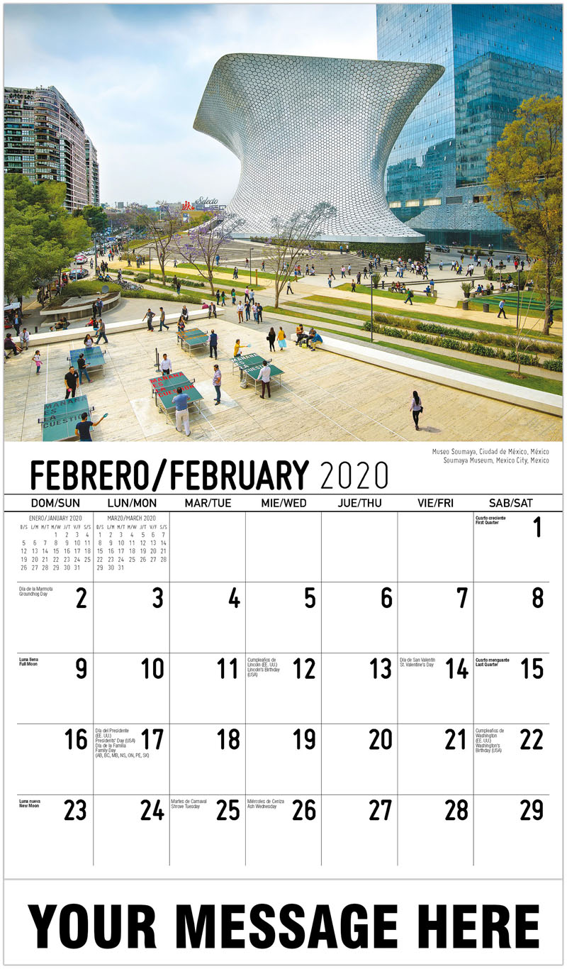 2020  Spanish-English Promotional Calendar - Soumaya Museum, Mexico City, Mexico Museo Soumaya, Ciudad De México, México - February