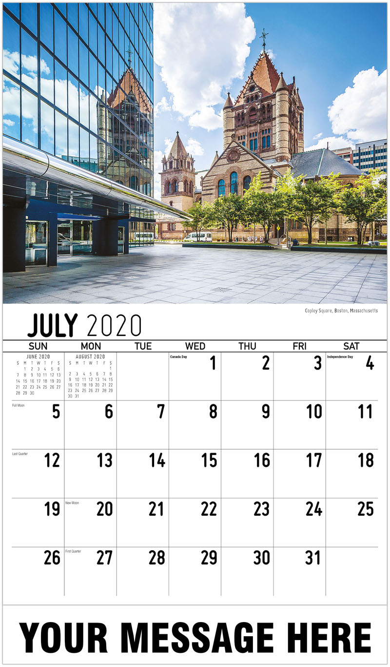 2020 Business Advertising Calendar - Copley Square, Boston, Massachusetts - July