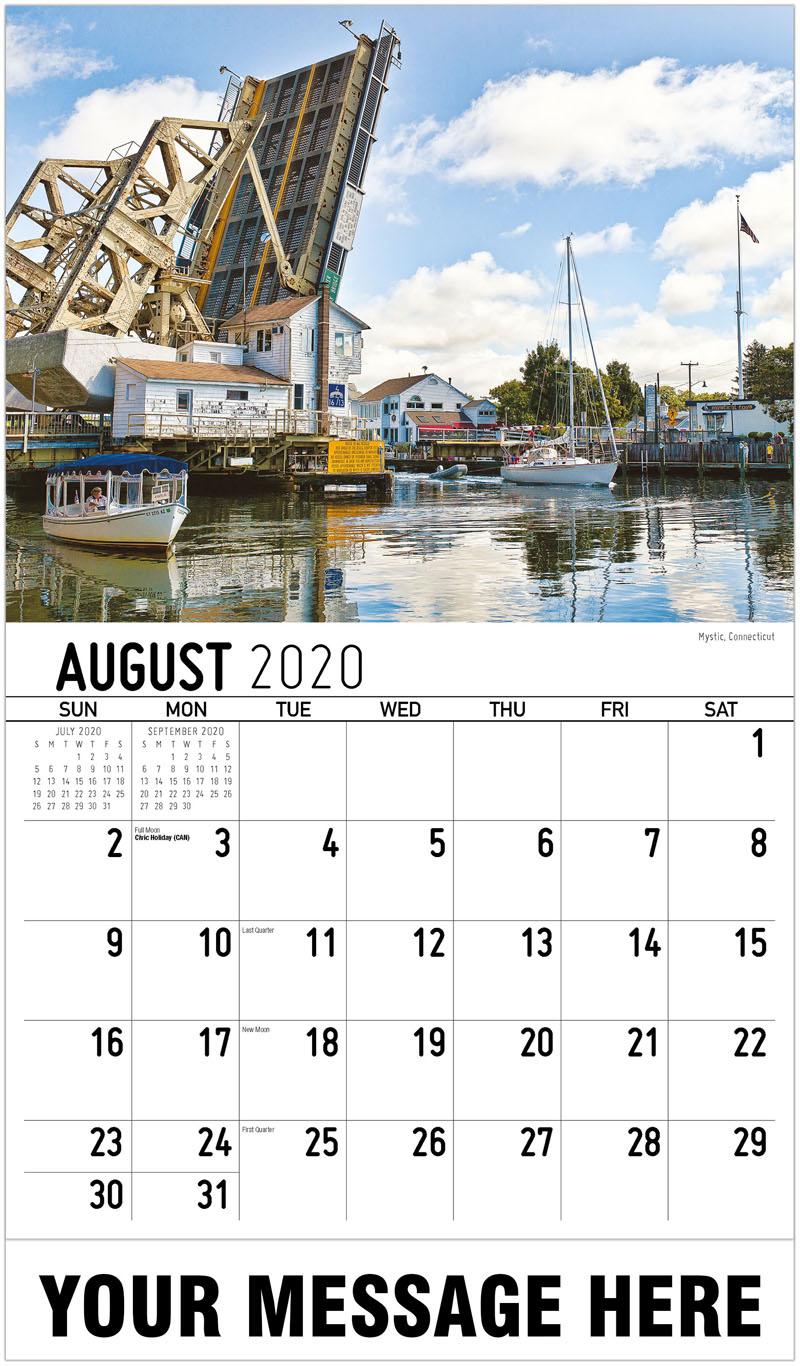 2020 Business Advertising Calendar - Mystic, Connecticut - August