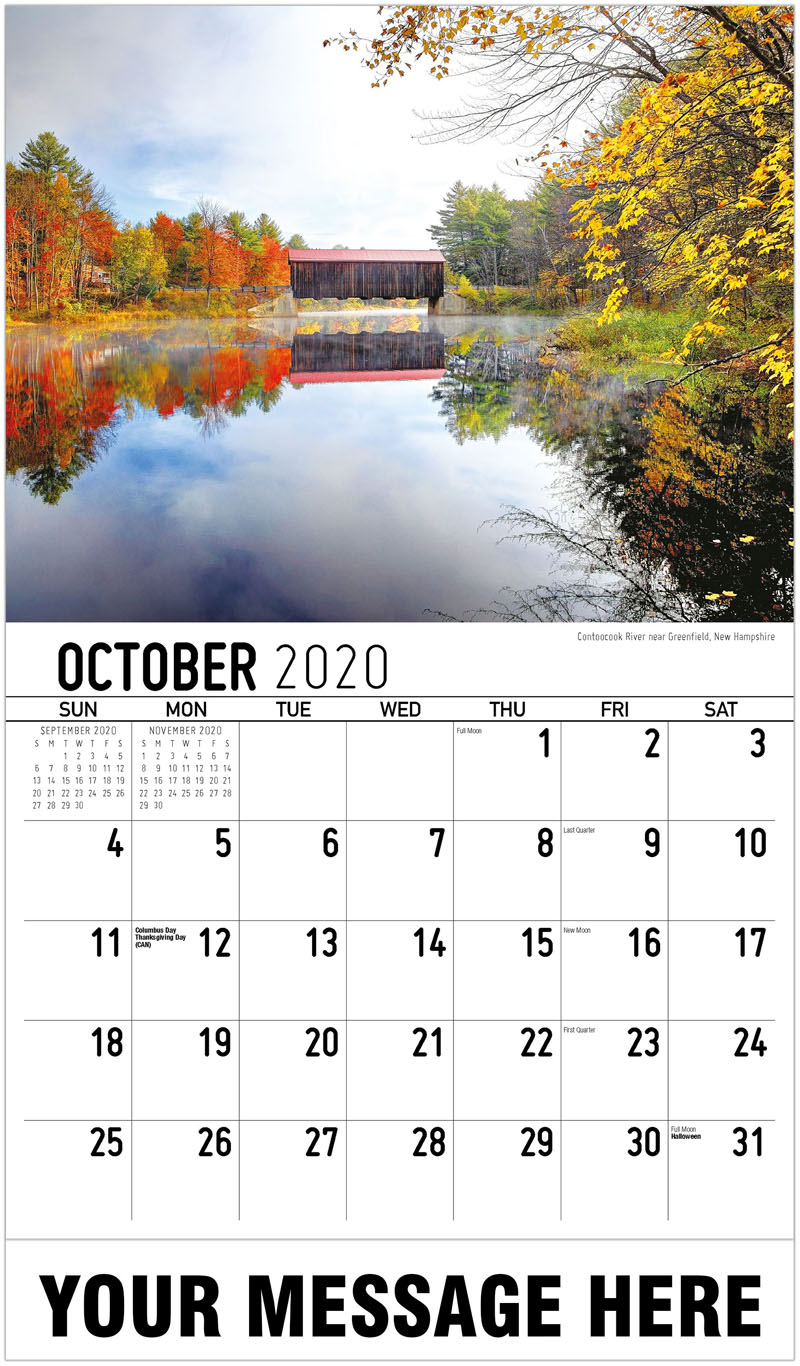 2020 Business Advertising Calendar - Contoocook River Near Greenfield, New Hampshire - October