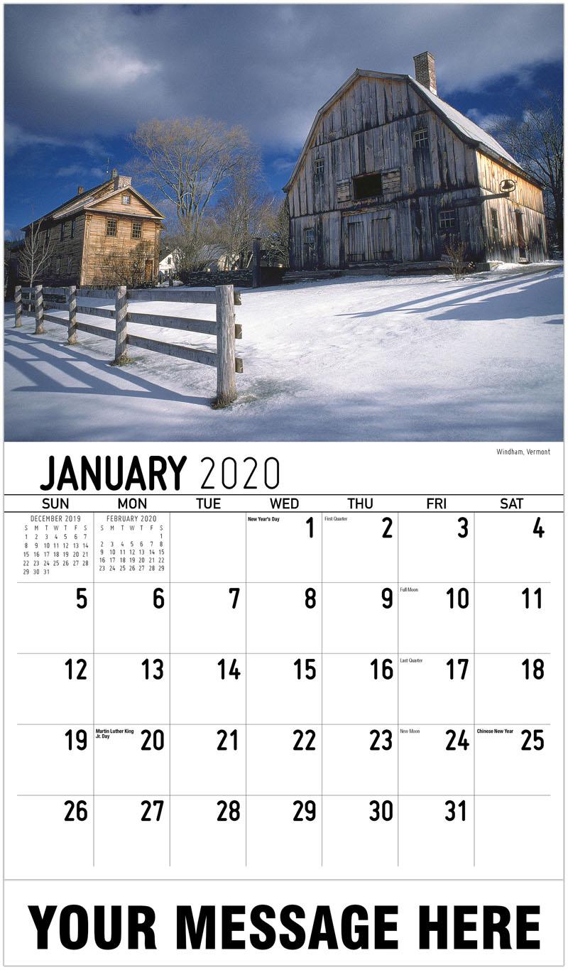 2020 Promo Calendar - Windham, Vermont - January