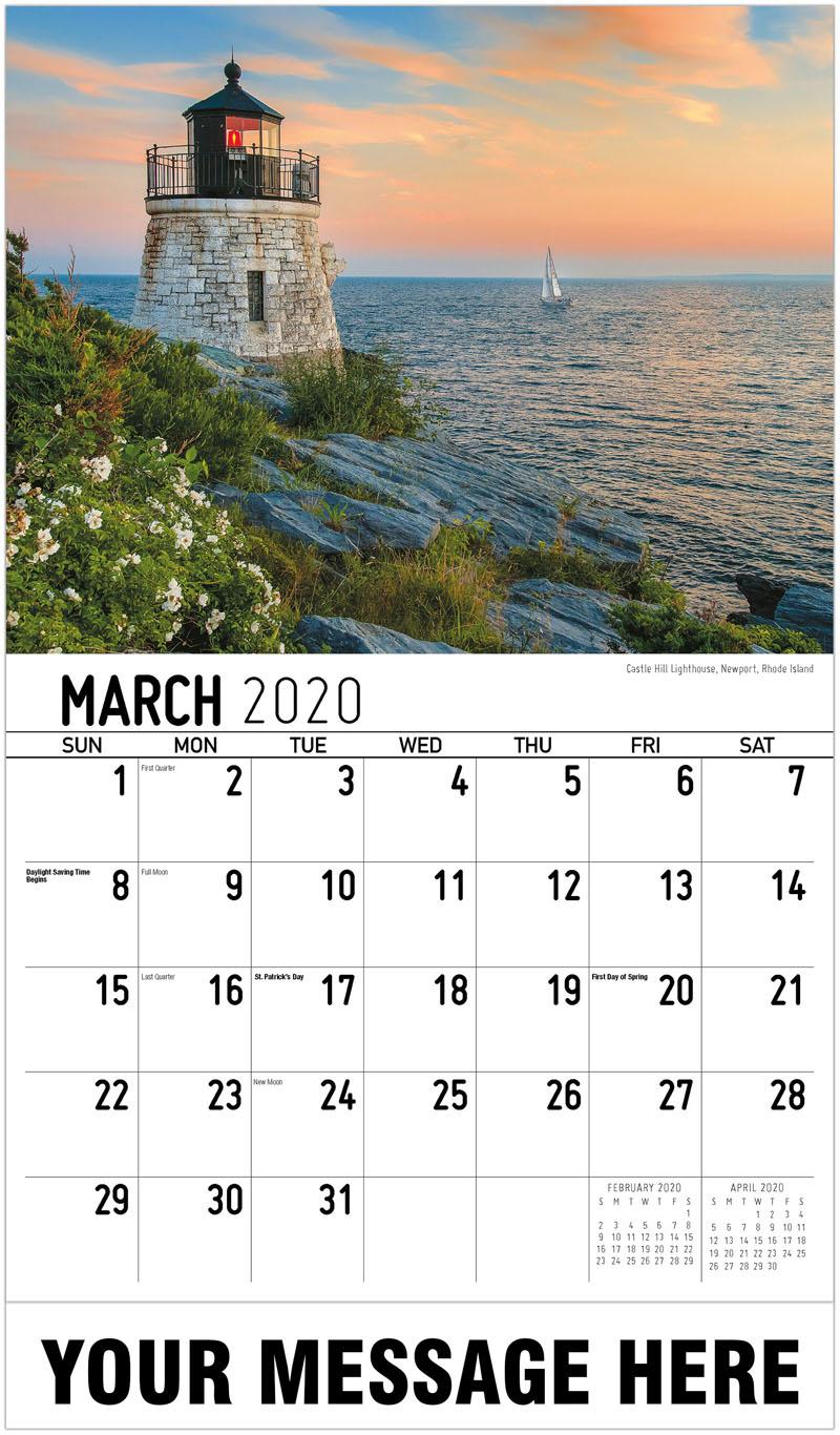 2020 Promotional Calendar - Castle Hill Lighthouse, Newport, Rhode Island - March