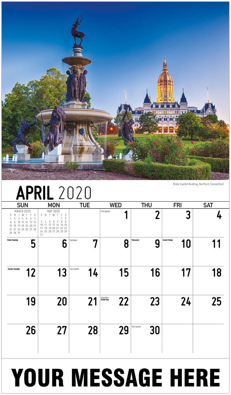 2020 Promotional Calendar - State Capitol Building, Hartford, Connecticut - April