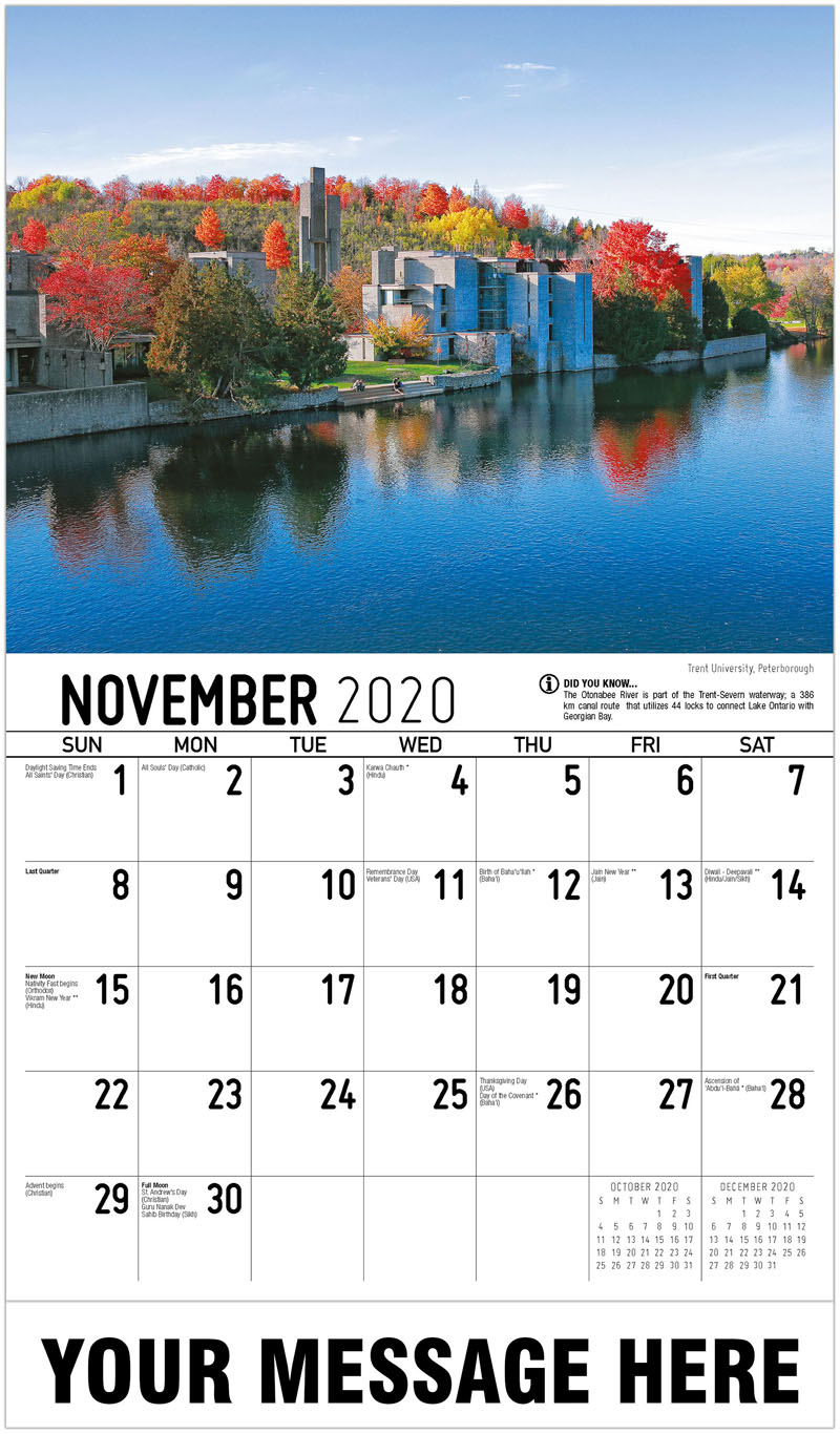 2020 Advertising Calendar - Trent University, Peterborough - November
