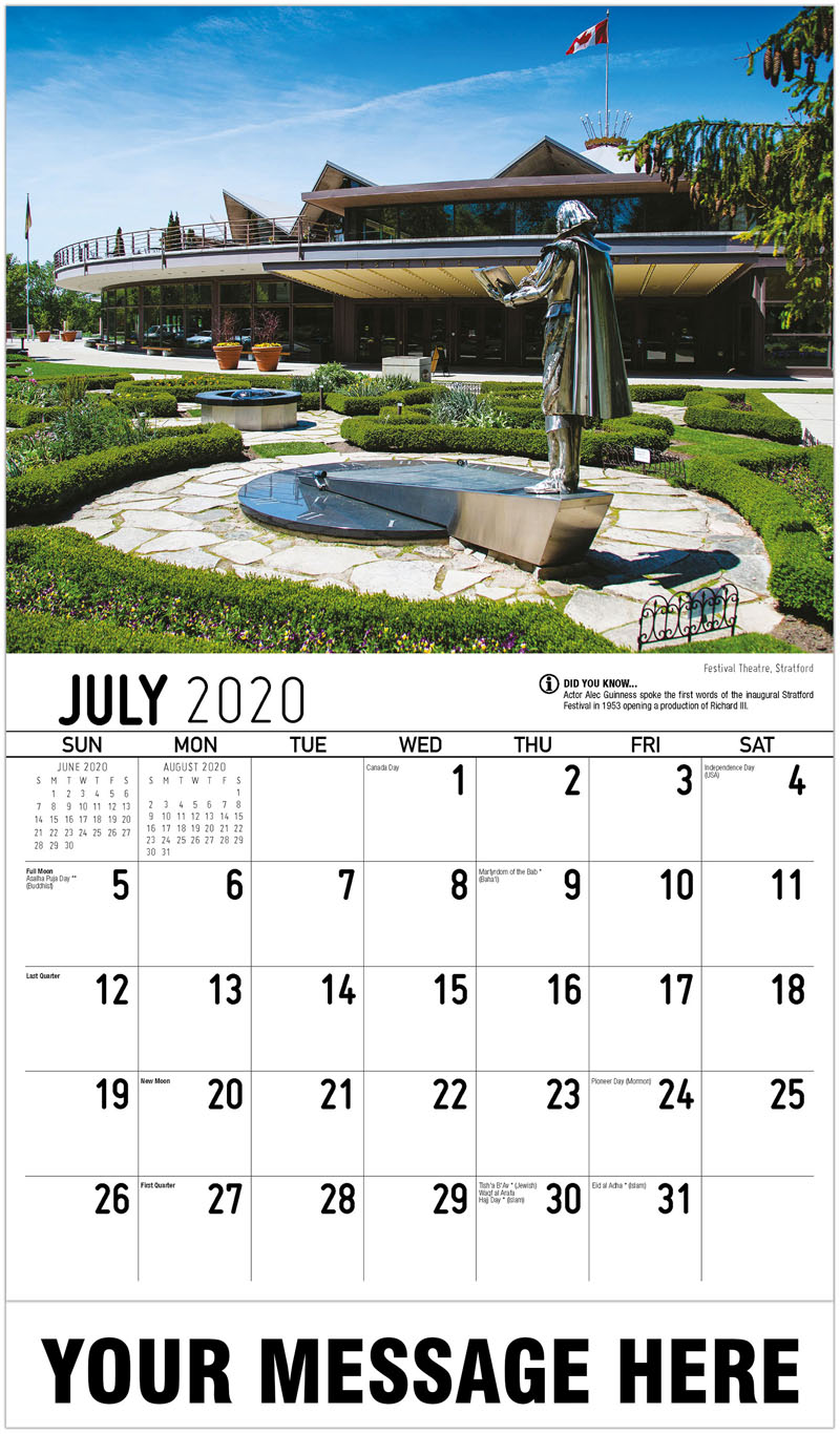 2020 Business Advertising Calendar - Festival Theatre, Stratford - July