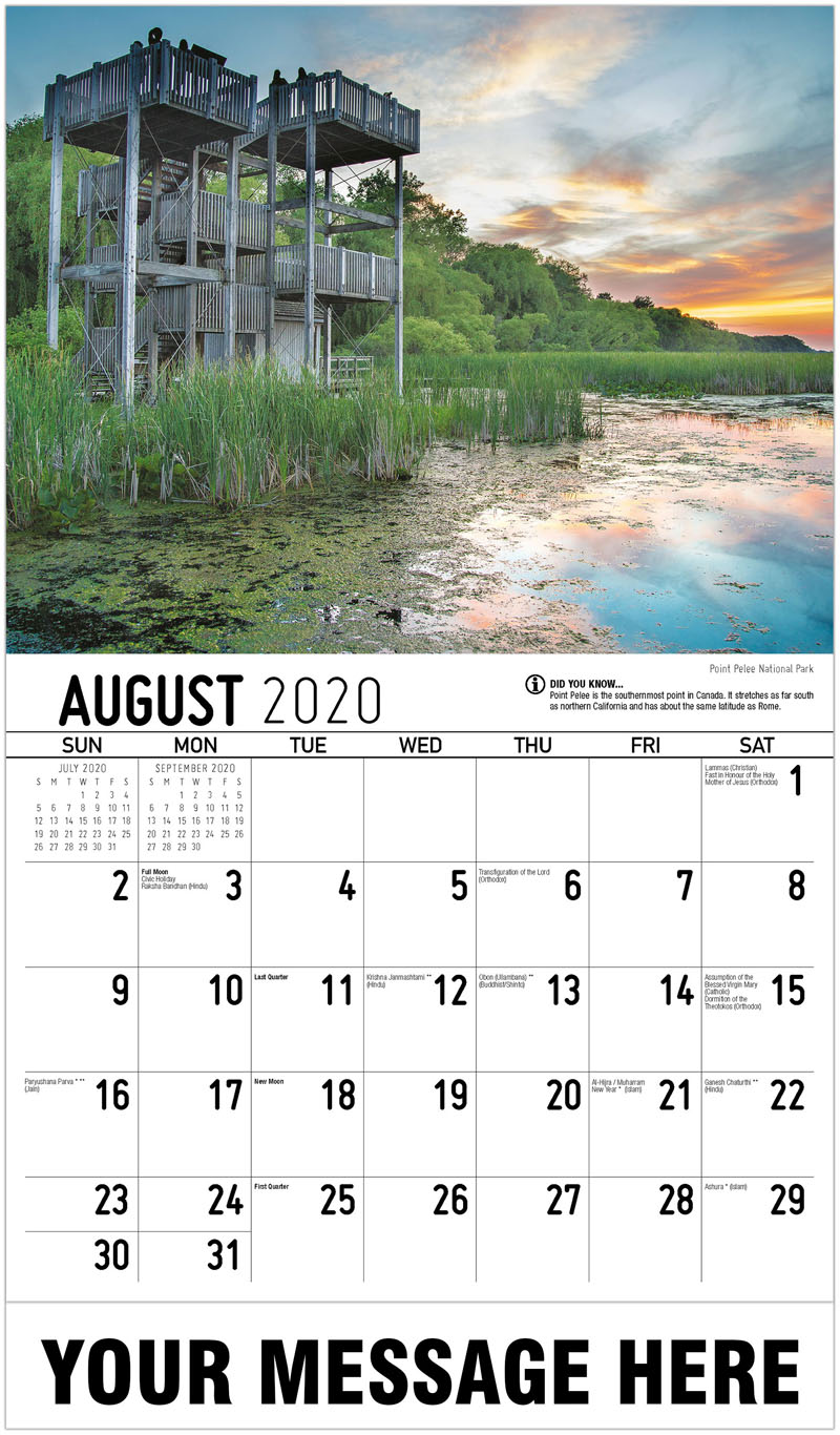 2020 Business Advertising Calendar - Point Pelee National Park - August