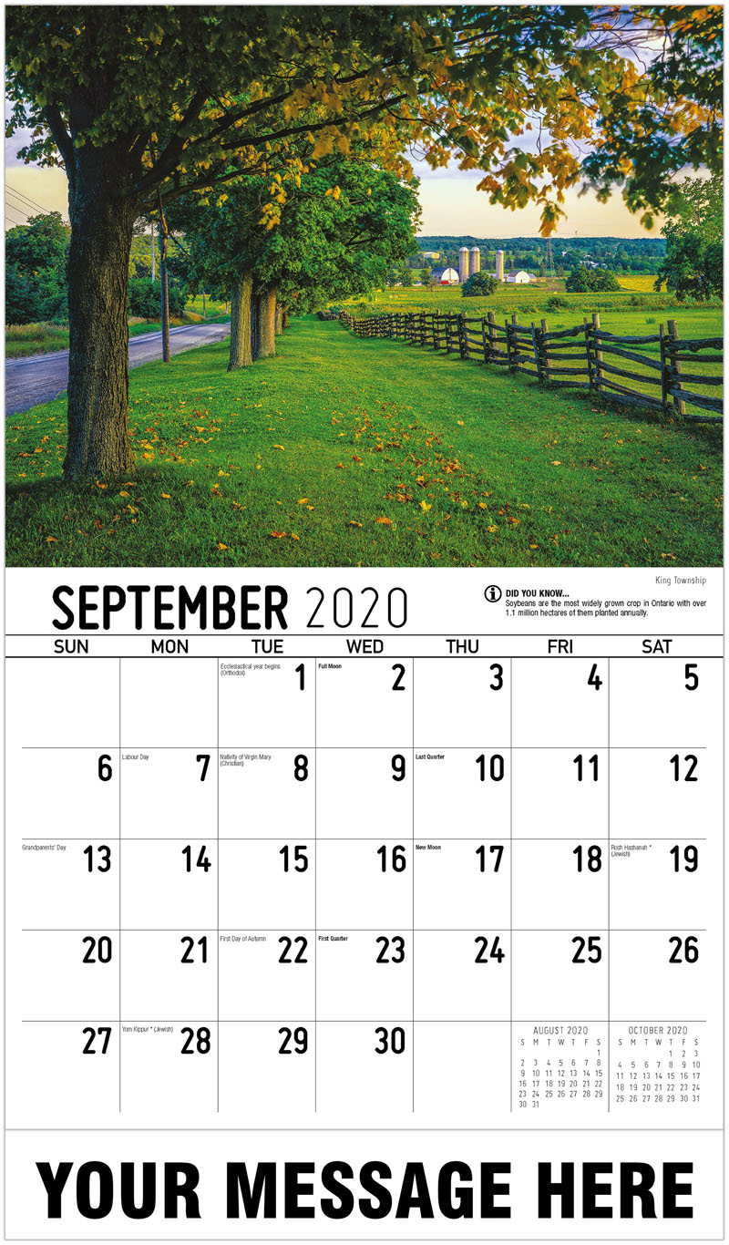 2020 Business Advertising Calendar - King Township - September