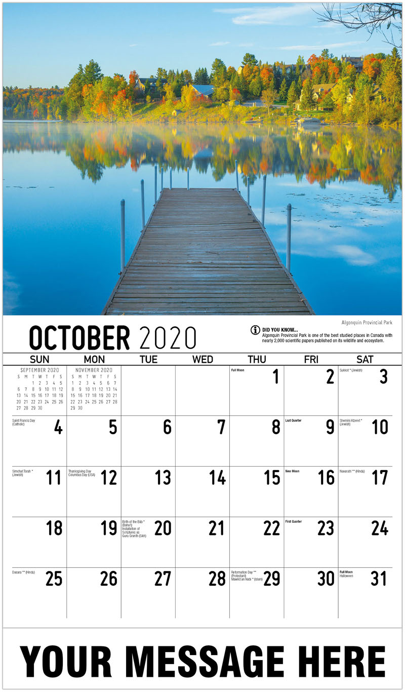 2020 Business Advertising Calendar - Algonquin Provincial Park - October