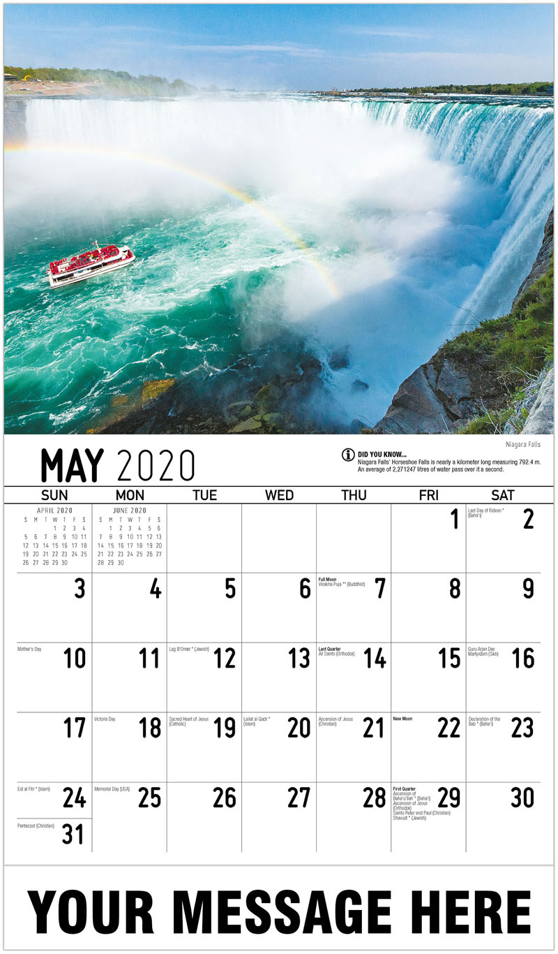 2020 Promo Calendar - Niagara Falls - May