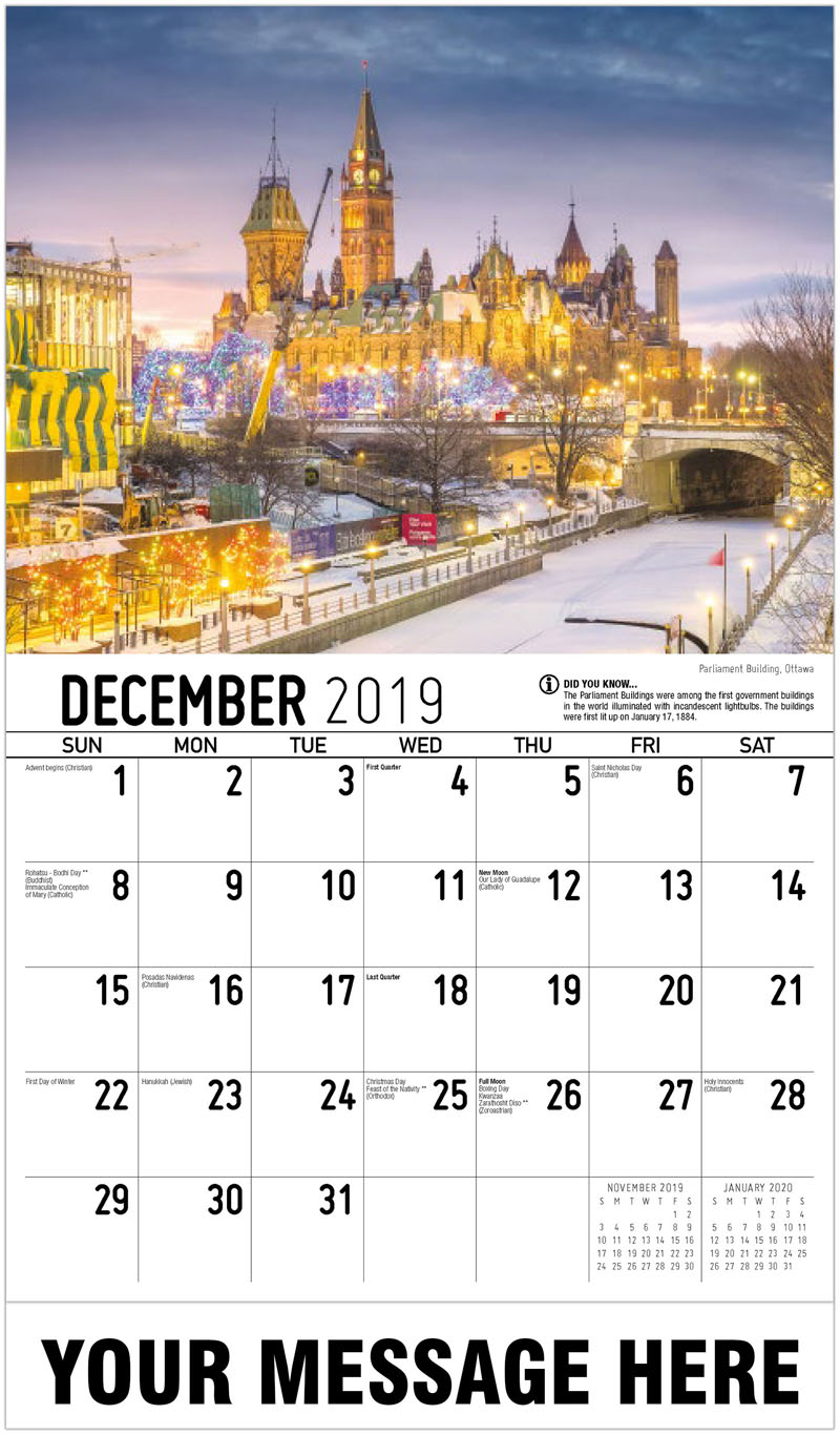 2020 Promotional Calendar - Parliament Building , Ottawa - December_2019