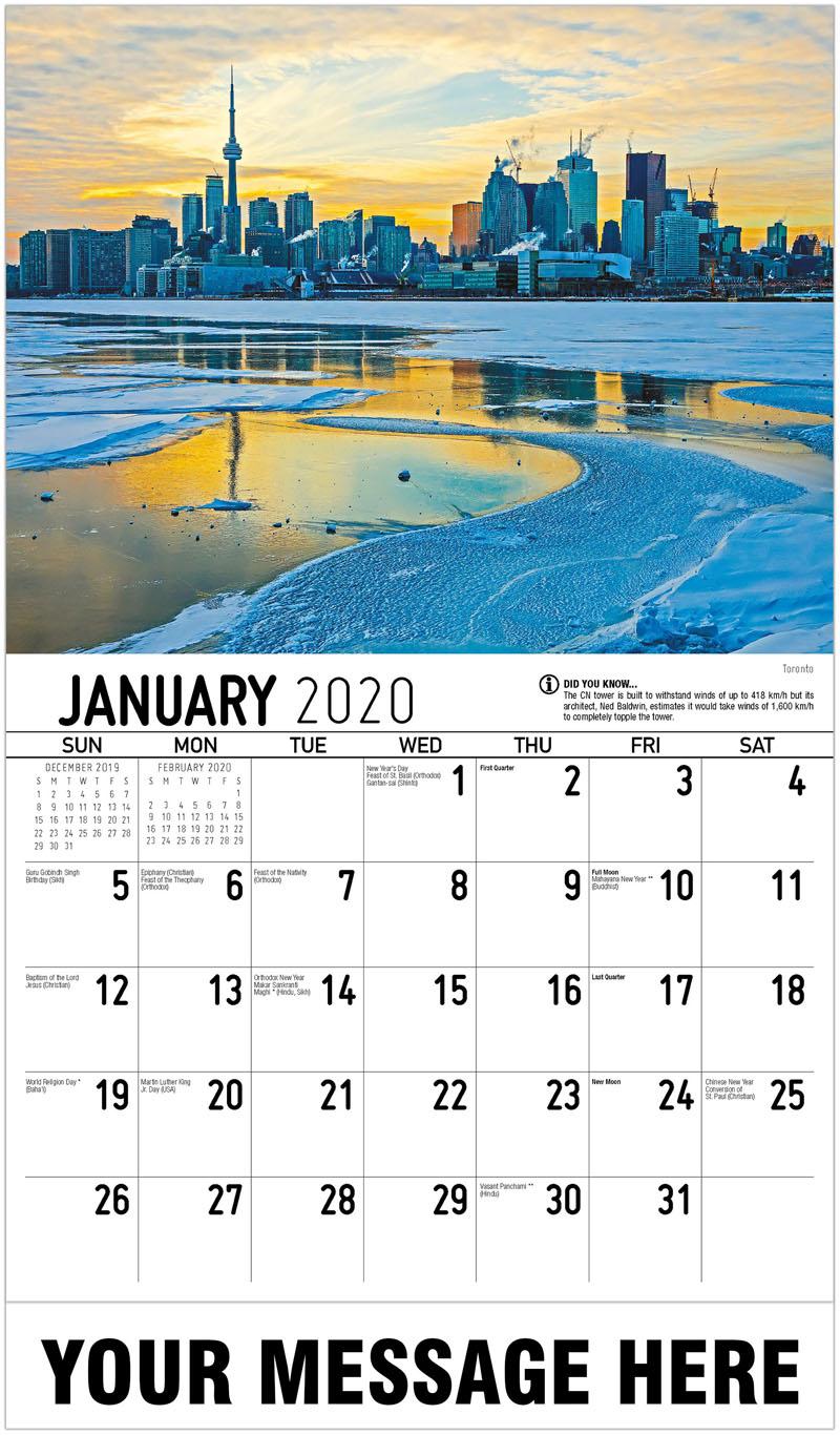 2020 Promotional Calendar - Toronto - January