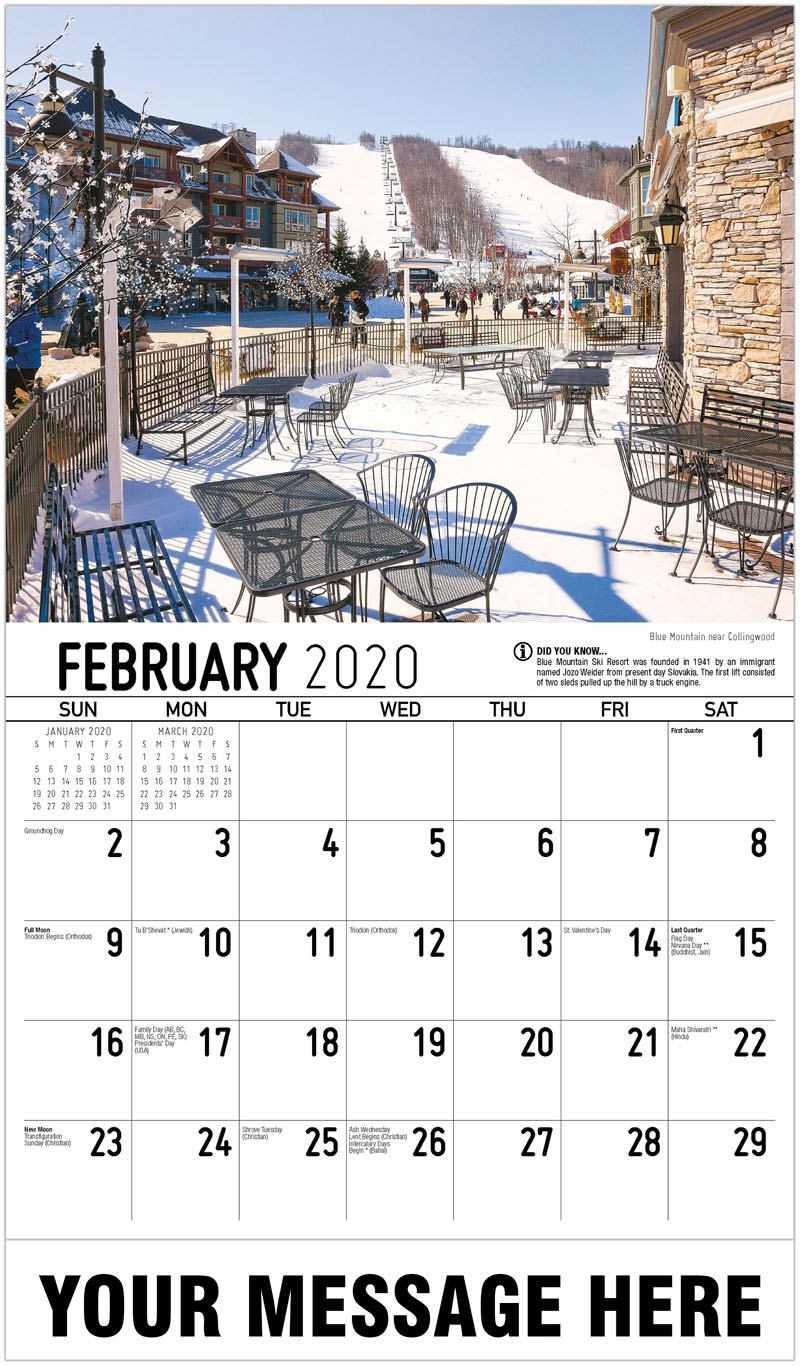 2020 Promotional Calendar - Blue Mountain Near Collingwood - February