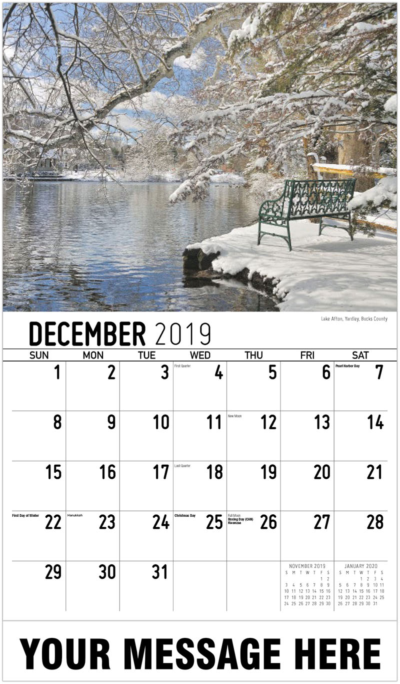 2020 Advertising Calendar - Lake Afton, Yardley, Bucks County - December_2019