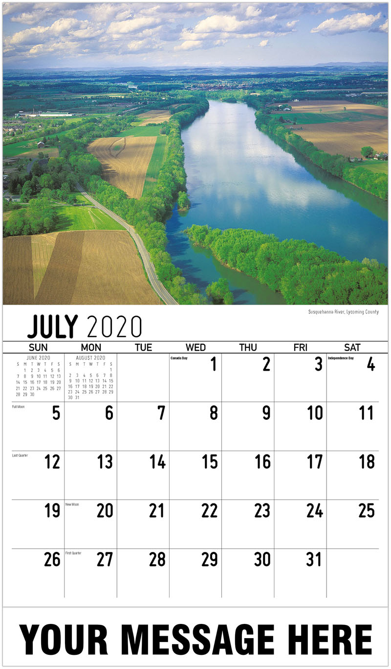 2020 Business Advertising Calendar - Susquehanna River, Lycoming County - July