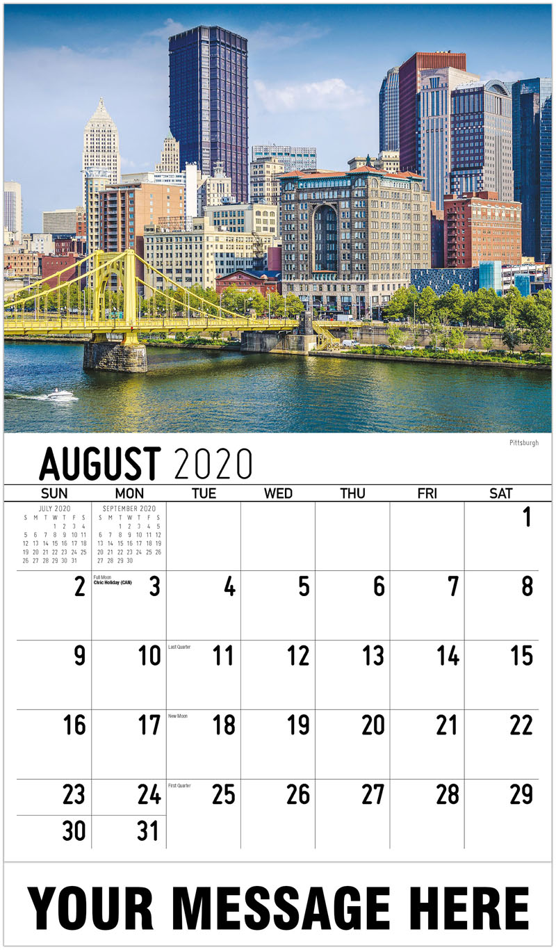 2020 Business Advertising Calendar - Pittsburgh - August